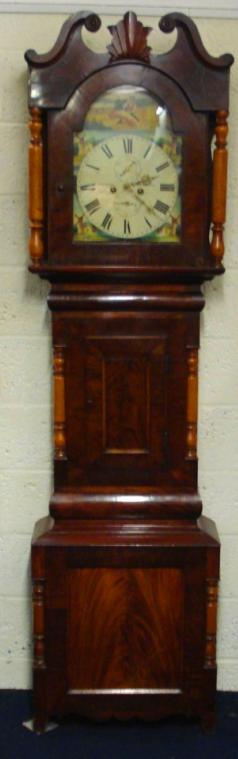 8 day flame mahogany grandfather longcase clock by R Easby Durham