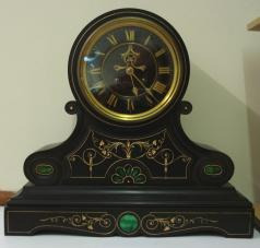 brocot visible escapement 8 day heavy black marble slate mantel clock striking on a bell