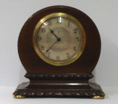 french round top dark mahogany mantel clock timepiece