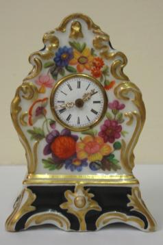 miniature porcelain floral enamel decoration bedside table mantle clock timepiece