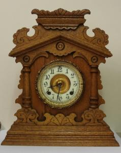 American ansonia clock company oak case 8 day gong strike mantel clock