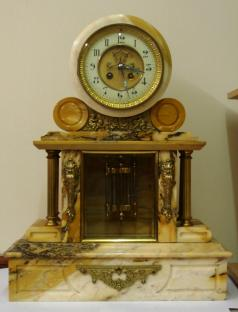 French marble 8 day bell strike brocot visible escapement mercury pendulum mantel clock