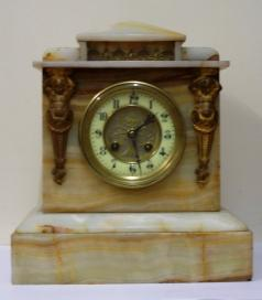 french white marble 8 day mantel clock by a d mougin of paris brass drum movement pendulum regulated and striking on a gong