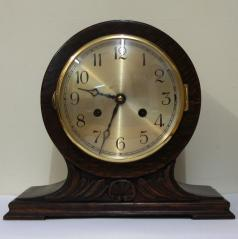 dark stained oak 8 day mantel clock strike silent selection striking on a gong