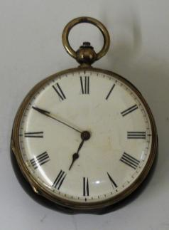 small english fob watch silver case wooden back