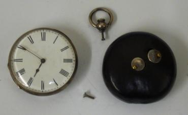 Unusual novelty English silver and wooden cased open face pocket watch. 30 hour movement with cylinder escapement in going condition.