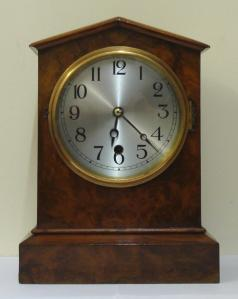 american burr walnut cased 8 day timepiece mantel clock