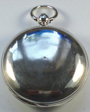 English silver cased key wound verge full hunter pocket watch by Carter of Rochford, hallmarked throughout for London c1838. White enamel dial with slight hairline cracking, black roman hours and gilt spear and poker hands. Engraved back plate signed and numbered #6229 with undecorated cock piece and gem end stone.