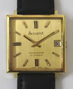 accurist swiss shockmaster 21 jewel manual wind incabloc wrist watch