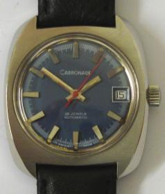 swiss carronade automatic wrist watch stainless steel case ETA 25 jewel movement