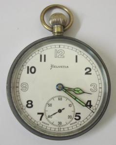 swiss helvetia ex-military pocket watch chromed case braod arrow mark GS/TP P28656