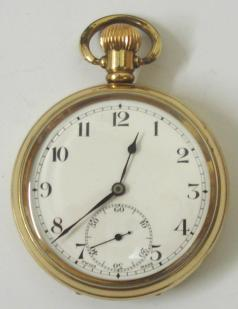 Swiss Revue gold plated pocket watch in a Dennison case, white enamel dial, black arabic hours, black steel hands, subsidiary seconds dial.