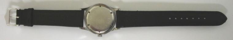 Swiss Ascalon wrist watch in chromed case with stainless steel back on a black leather strap with silvered buckle. Silvered textured dial with gilt arabic and baton hour markers, gilt luminous insert hands and sweep seconds. Swiss 17 jewel incabloc manual wind movement.