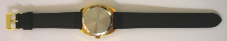 German Lorsa manual wind wrist watch in a gold plated case with stainless steel back, on a black leather strap with gilt buckle. Silvered dial with gilt and black hour markers and matching hands with sweep seconds and date display at 3 o/c. 17 jewel incabloc movement with screw on case back marked for retailer F.HINDS.