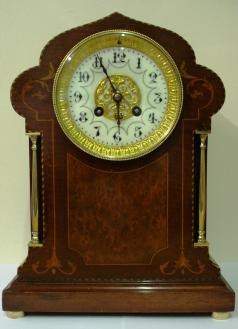mantel japy freres clock 8 day inlaid bell strike
