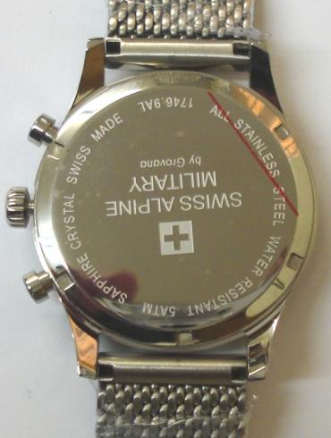 Brand new Swiss Alpine Military quartz chronograph by Grovana in an all stainless steel case with integral mesh bracelet. Sapphire crystal over a white dial with black hours and matching hands and subsidiary seconds dial. 12 hour elapsed time recording via subsidiary hours, minutes and centre seconds hand with date display at 4 o/c. Brand new model 1746.9AL SAM watch number 9132 with screw down back water resistant to 50 metres, complete with box, all paperwork and manufacturer's guarantee.