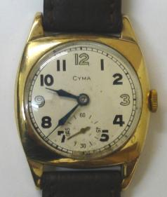 Gents Cyma manual wind wrist watch in a 9ct gold case with Glasgow import hallmark for 1936, on a black leather strap with gilt buckle. Silvered dial with Arabic silvered or black hour markers and blued steel hands with a subsidiary seconds dial. Swiss made Cyma signed 15 jewel movement, numbered #944951.