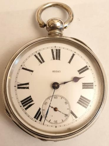 Swiss silver cased pocket watch maker unknown late 19th century. Key wind and time change with white enamel dial and black Roman hours with black spear hands and subsidiary seconds dial, the silver case marked 'Fine Silver' and numbered #49393. Unsigned 3/4 plate going barrel movement with split bi-metallic balance with #49393 numbering repeated on and under the dial.