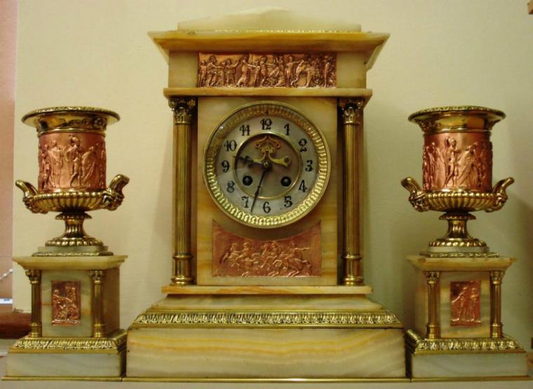 french marble cased clock garniture with brocot visible escapement