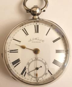 American Watch Co. Waltham lever pocket watch in a silver case with Birmingham hallmark for 1883, case numbered #55528 and 'AB'. Key wind and time change with signed white enamel dial and black Roman hours with gilt hands and subsidiary seconds dial. Back plate signed and numbered #2463341 with engraved cock piece and jewelled end stone.
