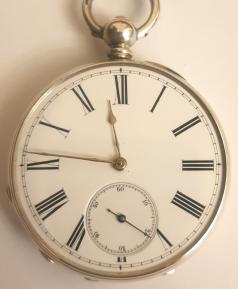 Swiss silver cased pocket watch late C19th, maker unknown. Key wind and time change with white enamel dial and black Roman hours with gilt hands, the engine decorated silver case numbered #12013 with initials 'EG'. Undecorated split bar movement with cylinder escapement and jewelled balance.