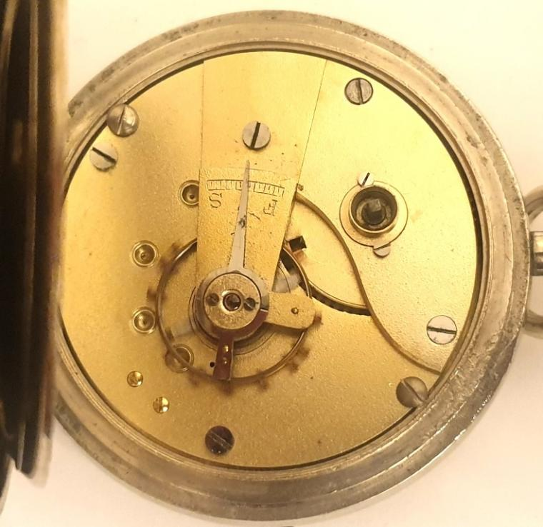 Plain nickel cased pocket watch late c19th, maker unknown. Key wind and time change with white enamel dial and black Roman hours with blued steel hands and a subsidiary seconds dial. Undecorated full plate movement with cut bi-metallic balance and jewelled lever escapement in a nickel case numbered #8927.