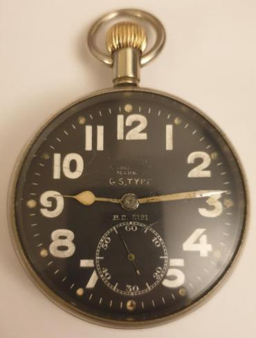 Swiss white metal cased pocket watch with worn out broad arrow mark and dial inscribed '30 Hour Luminous Mark' and 'G.S.TYPE B.E.121'. Top wind and time change with black enamel dial and white and luminous arabic hours with aged white hands and a subsidiary seconds dial at 6 o/c. Swiss case and movement signed DOXA (part of the Dirty Dozen) with a jewelled lever movement with bi-metallic balance and overcoil hairspring, the case numbered #1222803 circa 1940.
