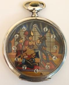 Swiss silver cased pocket watch by Doxa circa 1910. Top wind and time change with painted dial displaying an erotic scene with black Arabic hours in white surrounds and gilt hands. Signed 0.800 silver case numbered 628173 with signed jewelled lever movement with bi-metallic balance.
